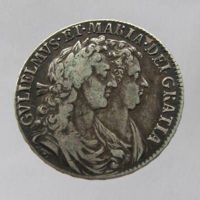 William & Mary, silver halfcrown, 1689, primo, second reverse abt.VF