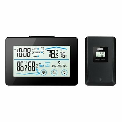 Digital Temperature Humidity Monitor , ORIA LCD Touch Screen Weather Station