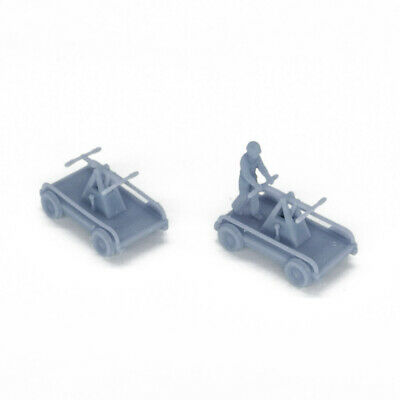 Outland Models Railroad Scenery Railway Handcar Hand Car x2 with Tools HO Scale