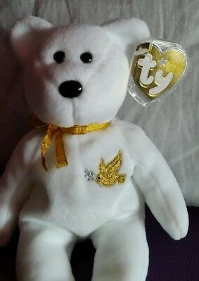 """TY BEANIE BEAR  """" HOLY FATHER """" Gold Tag"""