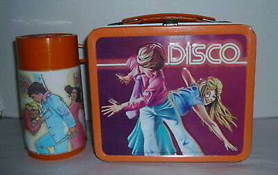 Vintage Aladdin Embossed Disco Metal Lunchbox & Thermos