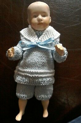 """Heirloom Crochet hand-knitted sailor suit for 8"""" antique, vintage or old doll"""