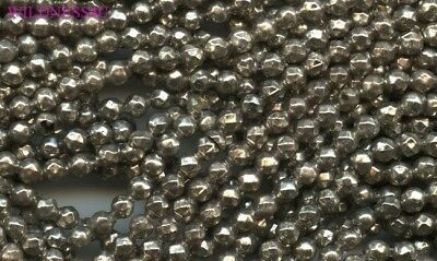 Germany Antique Silver Faceted Diamond Cut MERCURY BEADS Hollow Blown Glass 4mm