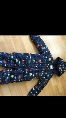 boys 12-18 months Snowsuit in traffic detail and muff covers excellent condition