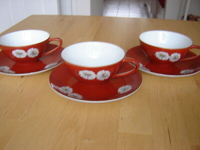 Noritake Nippon Toki Kaisha Red Daisy Set Of Three Cup And Saucer Excellent Cond