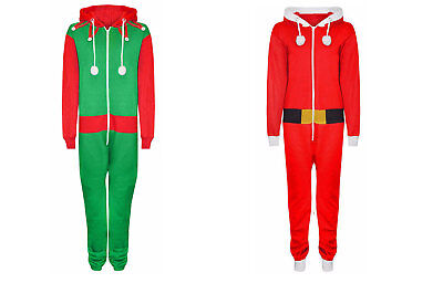Unisex Kids Boys Girls  Santa Elf Christmas All in One Novelty 7-13 Years