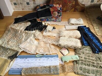Antique Vintage Lace Ribbon And Beading 16 pieces