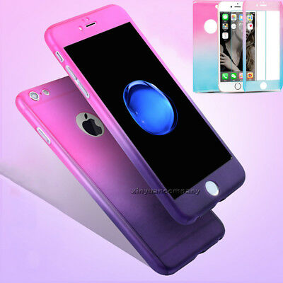 For iPhone 5 6s 7 Plus 360° Full Body Hard Protector Case Cover +Tempered Glass