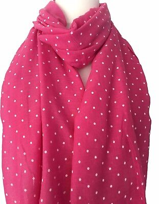 Pink Polka Dot Scarf White Polka Dots Wrap Ladies Hot Pink Spotted Spotty Shawl