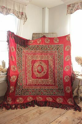 Resht Embroidery tapestry textile Persian  northern Persia SIGNED antique