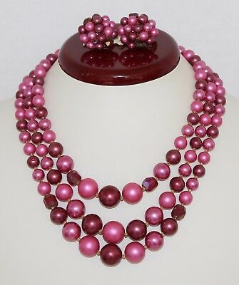 VTG 1950's Multistrand Pink Pearl & Crystal Beaded Necklace / Earrings Set