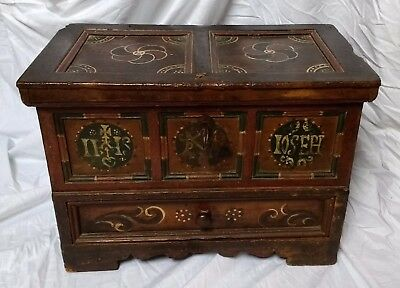 Rare 17th Century Polychrome Painted Monastic Table Chest C1650