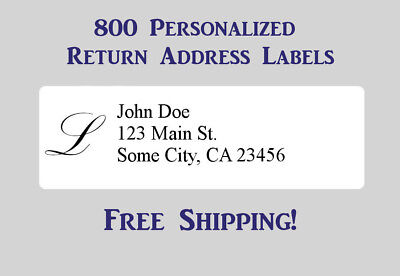 800 Printed Monogrammed & Personalized Return Address Labels - 1/2 x 1 3/4 Inch