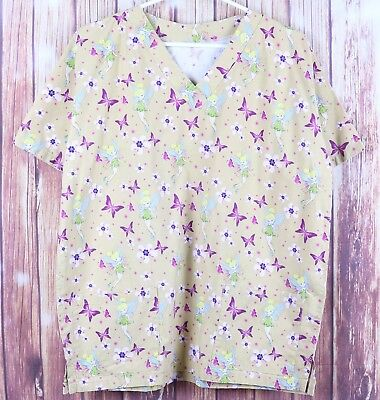 Tinkerbell S/S Scrub Uniform Sz Large Beige Butterfly Flower V-Neck Work Shirt