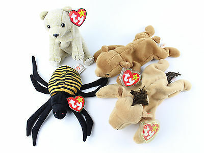 TY Beanie Baby Plush Lot Spinner Almond Derby Cubbie Premium Original Stuffed