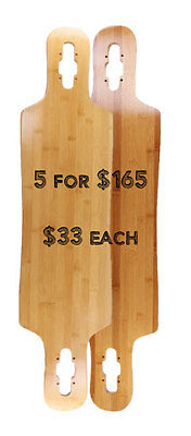 """5 blank 39"""" x 9.5"""" Bamboo Drop Through Double Kicktails"""