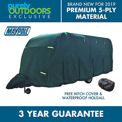 Maypole Ultimate 5-Ply Breathable Green Full Caravan Cover - Fits Up To 14ft