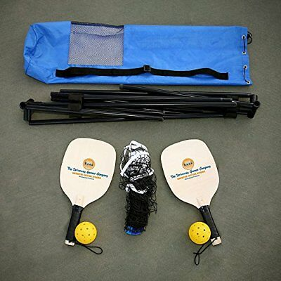 Complete Portable Pickleball Starter Net System - Includes 2 Wooden Paddles 2...