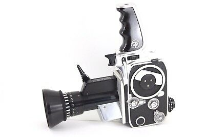 Bolex P1 8mm Zoom cine film camera with case, motor and meter tested working