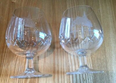 Edinburgh Crystal Pair Brandy Glasses Rare Etched Glasgow City Of Culture 1990
