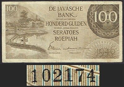 Netherlands Indies 100 Gulden 1946 Replacement Federal Javasche Bank P94 MWR RE1
