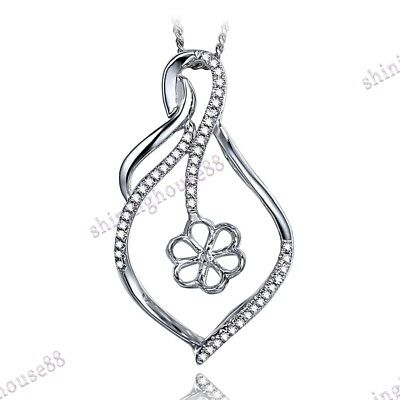 Solid 10K White Gold .2ct Real SI/H Diamonds Round 10mm Semi Mount Gift Pendant