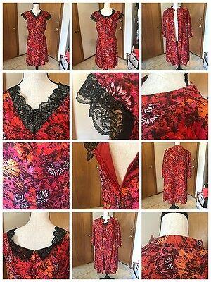 Vintage Handmade Silky Dress With Jacket Red Pink Floral  Lace Trim 50's 60's