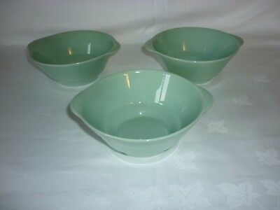 3 Vintage Woods Ware Beryl Green Small Soup Bowls with Handles