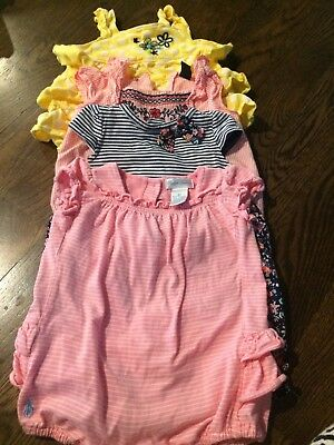 Lot of 3 Baby Girl Rompers Size 3 Months
