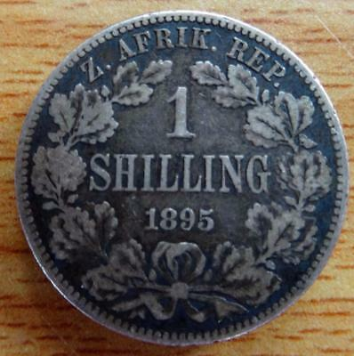 South Africa 1895 shilling silver coin