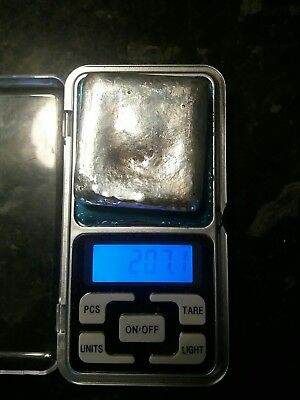 hand poured silver .999 silver square 207 grams/7.3 ounces