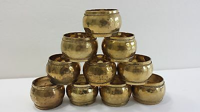 Lot of 10 Hammered Brass Napkin Rings Nice Patina Made in India