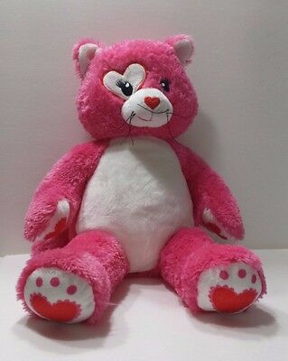 Pink Build a Bear CAT KISSES Heart in Eye Stuffed Animal Kitten Soft Child Toy