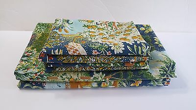 Vintage No-Iron Percale 2 Twin Flat Bed Sheets 4  Pillow Cases Nature Design USA
