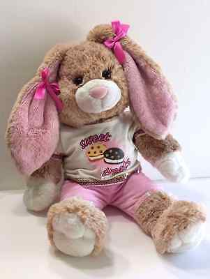 Build A Bear Bunny Rabbit with Pink Ears Sweet Treats Outfit Bows in Hair