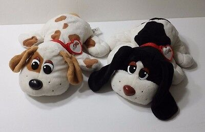 Set of 2 Pound Puppies Black and White Tan & White Plush 12 inches Long