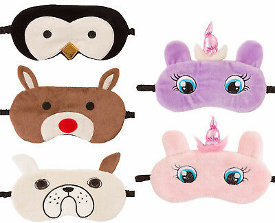 Ladies Womens Eye Mask Fleece Novelty Animal Face Penguin Unicorn Dog Reindeer