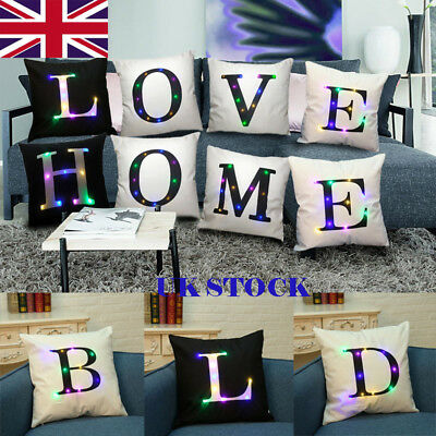 Bright LED Glowing Light Up A-Z 26 Letters Throw Pillow Case Sofa Cushion Cover