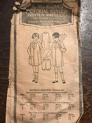 Antique Early Pictorial Review Sewing Pattern 3089 Girls Bloomers ONLY size 4