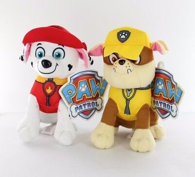 "2x Nickelodeon Paw Patrol 6"" MARSHALL & RUBBLE Pup Pals Stuffed Plush Kids Toy"