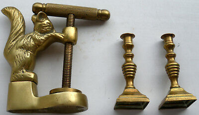 Brass Squirrel Nutcracker /and Small Pair Of Candle Sticks