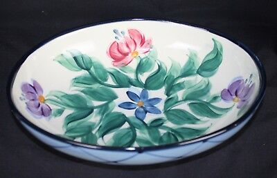 Gail Pittman Annabella Pottery 1995 Lattice Floral Serving Bowl Dish Tray Plate