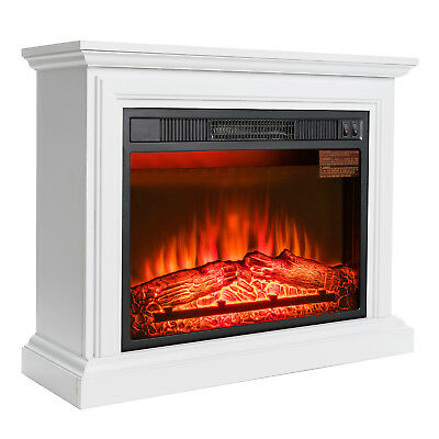 """32"""" Electric Fireplace Freestanding White Wood Mantel Heater 3D Red Flame Logs"""