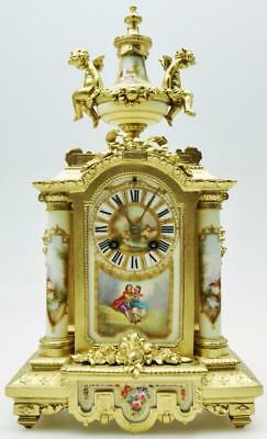 Antique 19thc French 8 Day Gilt Metal & 5 White Sevres Porcelain Mantle Clock