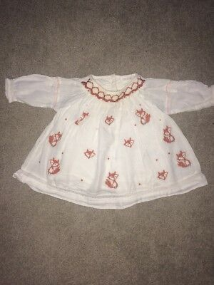 Next 0-3 Months Girls Top / Blouse, Fox, Brown And White, Shirt