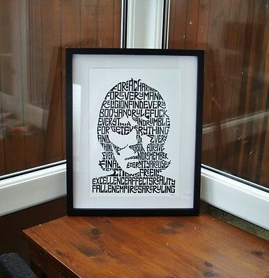 Ian Brown/Fear F.E.A.R./The Stone Roses A3 size typography art print/poster