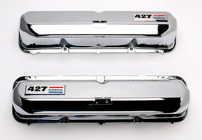 New Ford 427 Chrome Pent Roof Valve Covers With Emblem