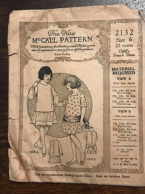 Antique 1920s McCall Printed Sewing Pattern 2132 Girls French Dress size 6