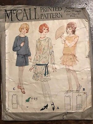 Vintage 1930's McCall Printed Sewing Pattern 5095 Girls Slip-on Dress size 10