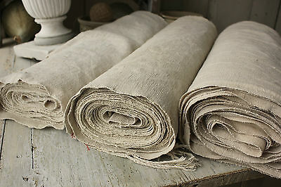 Vintage homespun linen hemp upholstery fabric 38.4 YARDS ~ WASHED material WIDE